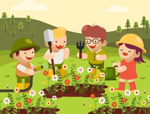 childhood background joyful kids gardening theme cartoon design