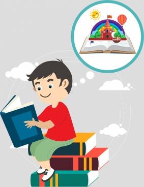 childhood background kid book stack imagination icons