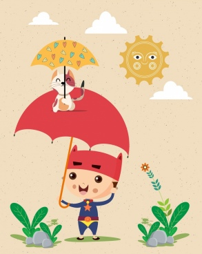 childhood background kid umbrella kitty icons stylized sun