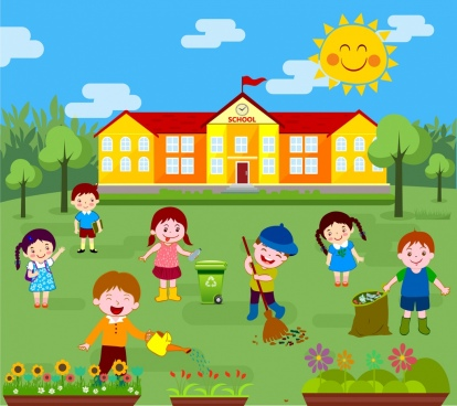 childhood background kids cleaning outdoor colored cartoon