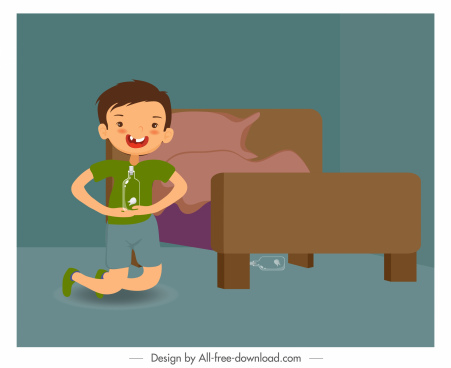 childhood background playful boy bedroom sketch cartoon design