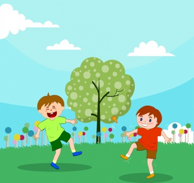 childhood background playful boy icons colored cartoon design
