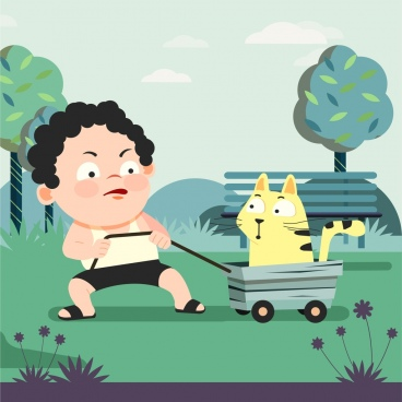 childhood background playful boy pet icons cartoon characters
