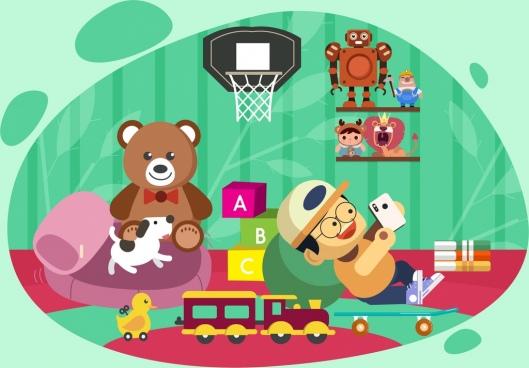 childhood background playful boy toys icons