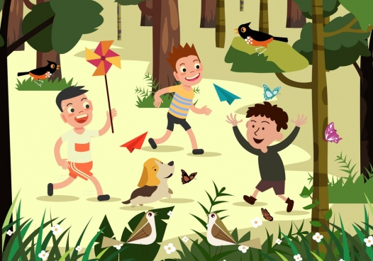 childhood background playful boys outdoor cartoon design