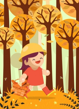 childhood background walking girl bread basket icons