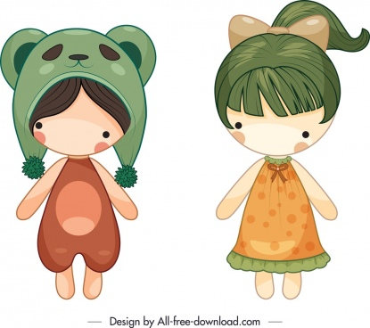 childhood doll icons girls sketch cute cartoon design