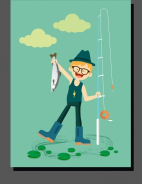 childhood drawing boy fishing icon colored cartoon design