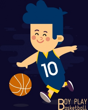 childhood drawing boy play basketball icon colored cartoon