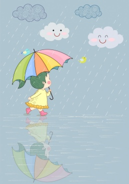 childhood drawing cute girl rainy day stylized design