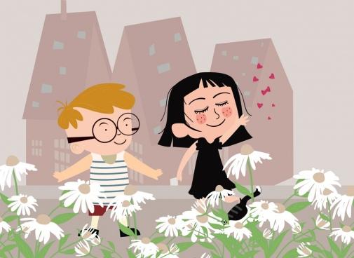 childhood drawing cute joyful children icon colored cartoon