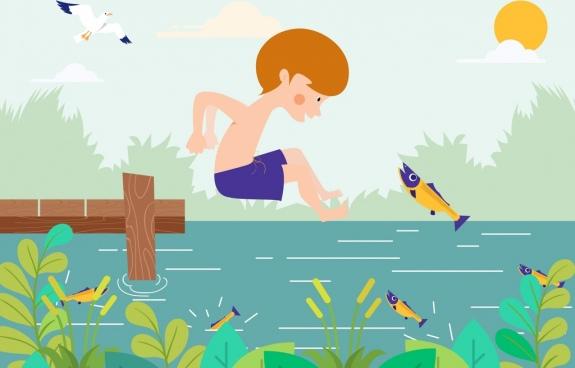 childhood drawing joyful boy fish river icons