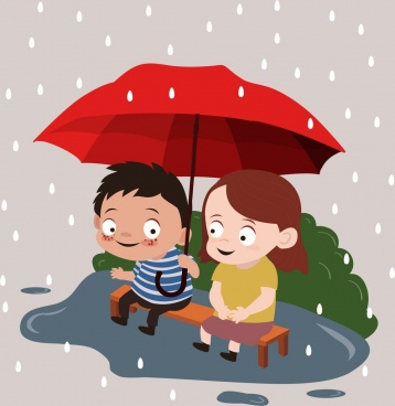 childhood drawing little boy girl rain umbrella icons