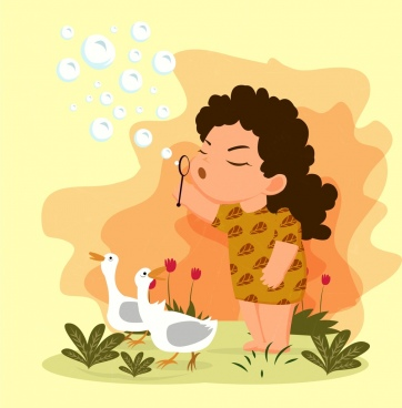 childhood drawing playful girl ducks icons