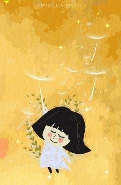 childhood drawing yellow backdrop little girl dandelion icons