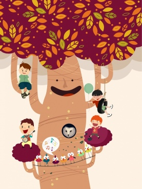 childhood dream background stylized tree kids icons decoration