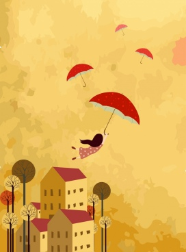 childhood dreaming background flying umbrella girl icons decor