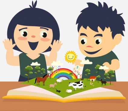 childhood education background kids open book colored cartoon
