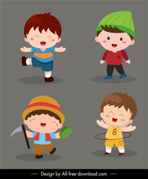 childhood elements joyful kids sketch cute cartoon characters