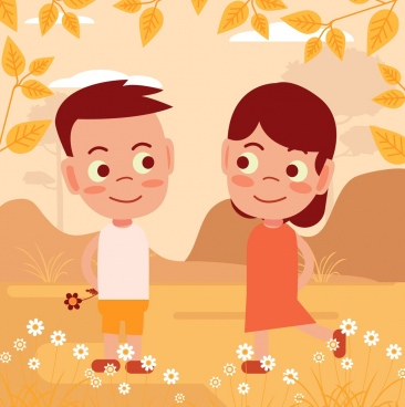 childhood friendship drawing cute kids icons cartoon design