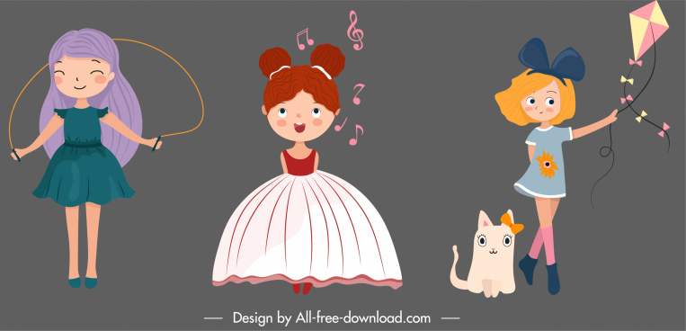 childhood girls icons cute cartoon characters sketch
