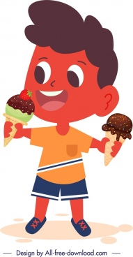 childhood icon boy eating ice cream cartoon character