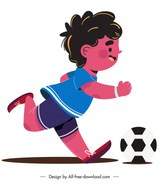 childhood icon boy playing football sketch cartoon design