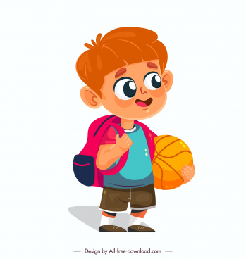 childhood icon cute boy sketch cartoon character