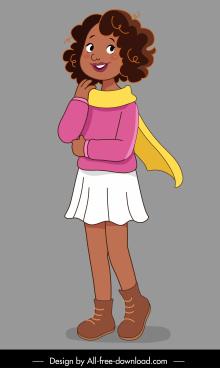 childhood icon cute girl sketch