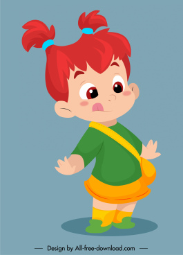 childhood icon funny girl sketch cartoon character