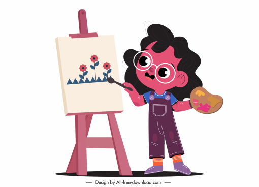 childhood icon painting girl sketch cartoon design