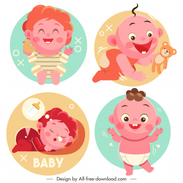 childhood icons cute baby sketch cartoon characters
