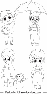 childhood icons cute boys sketch handdrawn cartoon