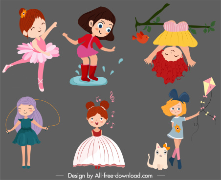 childhood icons cute girls sketch cartoon design