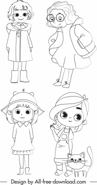 childhood icons cute girls sketch handdrawn cartoon