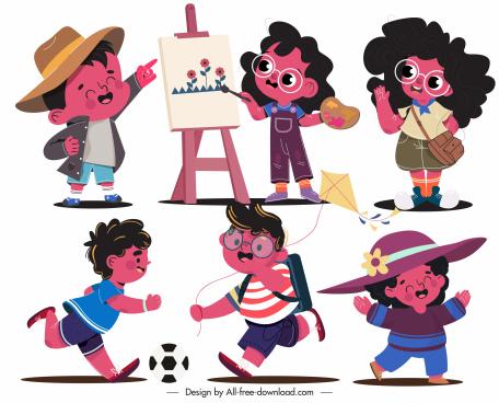 childhood icons joyful kids sketch cartoon characters
