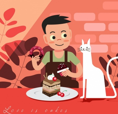 childhood painting boy eating cake icon cartoon character