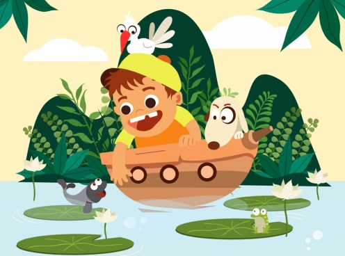 childhood painting boy ship fish icons cartoon design