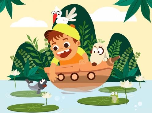 childhood painting boy ship fish icons cartoon design