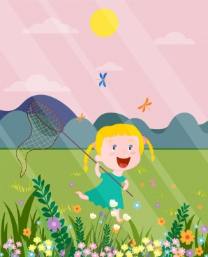 childhood painting cute girl playful colored cartoon design