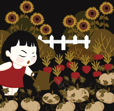 childhood painting gardening theme classical cartoon design
