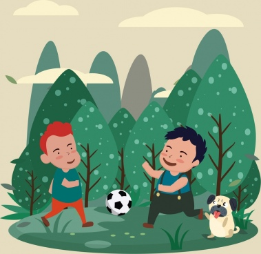 childhood painting joyful kids football icons cartoon design