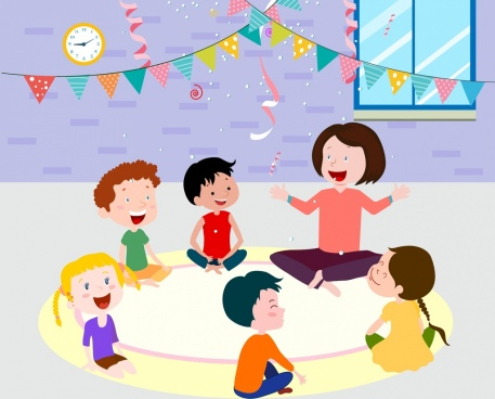 childhood painting nursery children icons cartoon characters