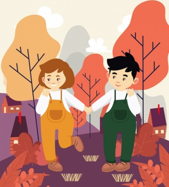 childhood painting young couple icon colored cartoon design