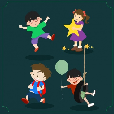childhood symbols isolation various playful kids icons