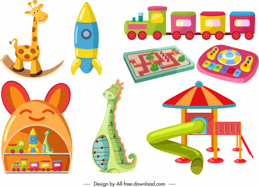 childhood toys icons colorful modern shapes