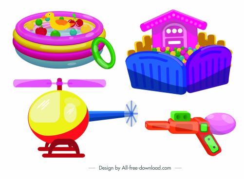 childhood toys icons pool helicopter plastic gun sketch
