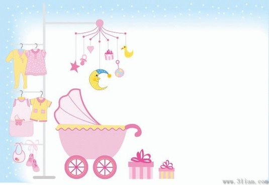 baby shower background kids stuffs design elements