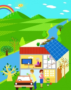 green ecology painting family house natural scene icons