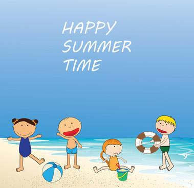 children and beach summer background vector